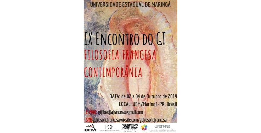 IX Encontro do GT de Filosofia Francesa Contemporânea